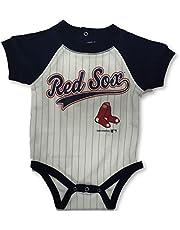 OuterStuff Boston Red Sox Boys Striped Bodysuit Creeper