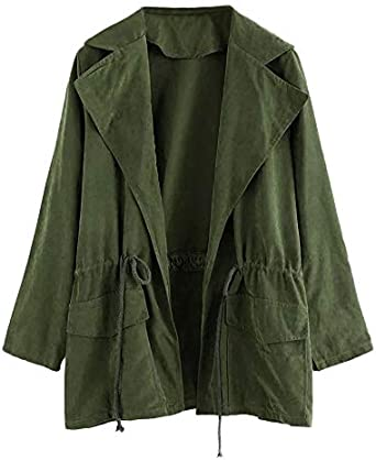 Trench Coat,Womens Long Sleeve Jacket Windbreaker Parka Pockets Cardigan Thin Blet Duster Outwear by-NEWONESUN