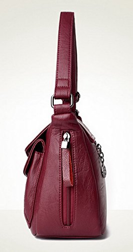 Zippers VogueZone009 bandoulière à sacs Cuir Femme Des Pu Sacs Achats Rouge CCAFBP180908 YzrYfqW