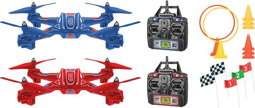 World Tech Toys Zip & Zap Racing Drones Double Pack 2.4Ghz 4.5 Channel RC Quadcopter Vehicle, Blue/Red, 27 x 10 x 14