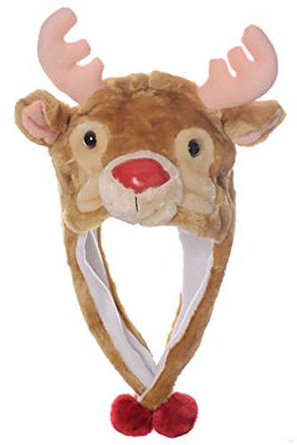 Reindeer Kids Costumes (Animal Head Super Soft Plush Childrens Hat - Reindeer)