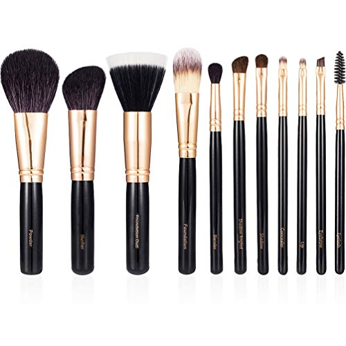 - GOTTA Make Up Brushes Set 11 Pieces Professional Cosmetic Makeup Brush Tools Soft Goat Hair Fiber with Portable Organizer Bag, Rose Golden