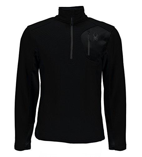 Spyder Men's Bandit Half Zip Light Weight Stryke Jacket, Black/Black/Black, Small ()