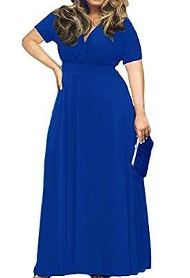 AM CLOTHES Womens Plus Size V-Neck Short Sleeve Evening Party Maxi Dress