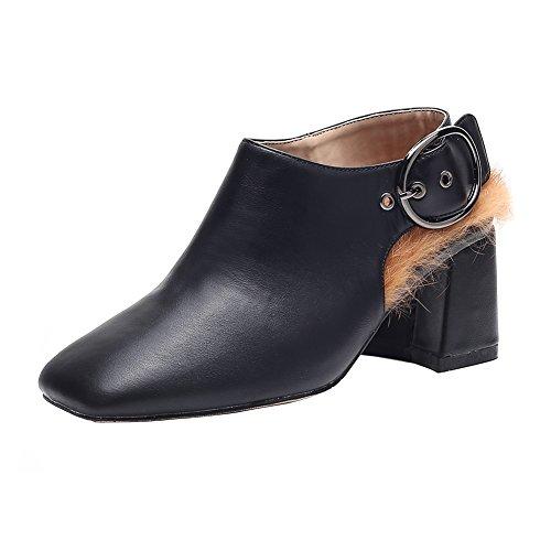 Women's Autumn Warm Block High Heel Fleece Ankle Boots Buckle Square-Toe Open Back Bootie Winter Pumps Black