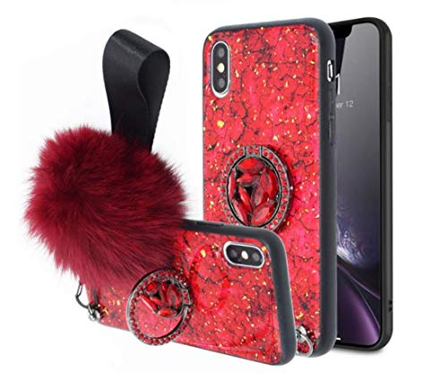 Lozeguyc iPhone XR Bling Marble Kickstand Case,iPhone XR Luxury Soft Hard Back Case Shiny Glass Shockproof Ring Stand Cover for iPhone XR 6.1 Inch-Red