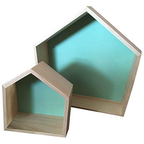 Da Jia 2PCS Wooden House-shaped Wall Storage Shelf Kid's Room Decoration(Mint Green) by Da Jia