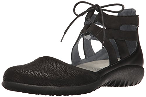 Naot Footwear Women's Kata, Black Crackle Leather/Black Velvet Nubuck/Black Raven Leather, 39 (US Women's 8) M