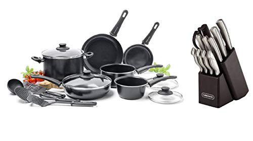 GreenLife Ceramic Non-Stick 14 Piece Cookware Set Bundle With Farberware 22-Piece Stainless Steel Knife Set with Cutting Mats