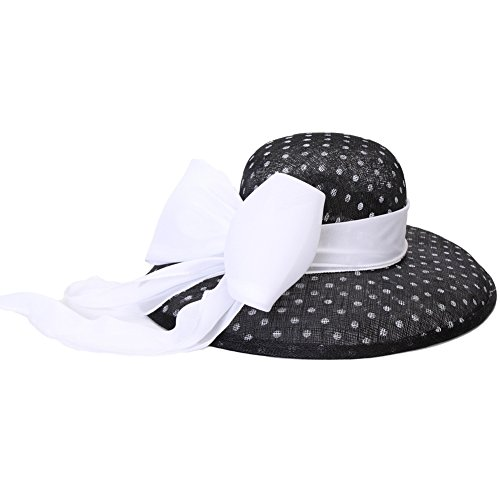 (June's Young Women Hats Summer Hat Black Polka Dot with White Bow)