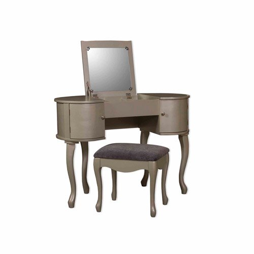 (Care 4 Home LLC Bedroom Vanity Set with Flip Top Mirror and Microfiber Stool, 2 Spacious Side Drawers, Durable Construction, Practical, Home Furniture, Silver Finish + Expert Guide)