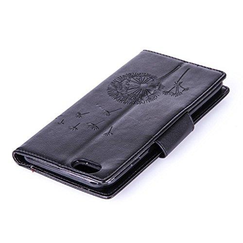 Für Apple iPhone 6 Plus (5,5 Zoll) Tasche ZeWoo® Ledertasche Strass Hülle PU Leder Schutzhülle Glitzer Case Cover - L073 / Löwenzahn (schwarz)