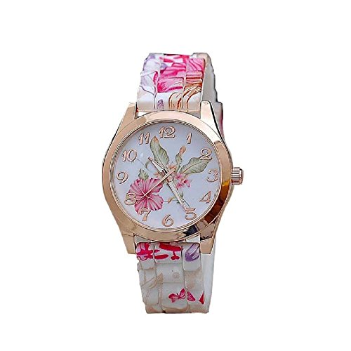 AmyDong Girl's Causal Silicone Printed Flower Quartz Watch