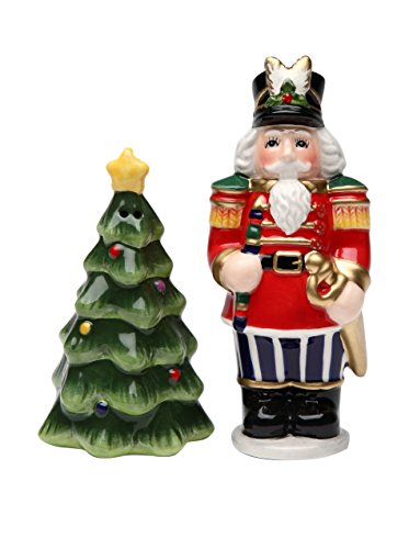 (Cosmos Gifts 10522 Nutcracker and Christmas Tree Salt and Pepper Set,)