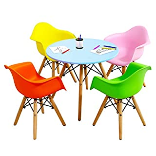 Costzon Kids Mid-Century Modern Style Table Set, Kids Table and Chair Set, Round Table with Armchairs for Toddler Children, Kids Dining Table and Chair Set (Colorful, Table & 4 Chairs)