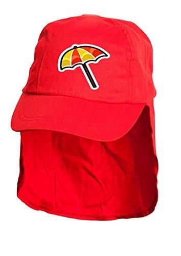 Enfants Rouge Soleil Parasol Bonnet style Légionnaire. Taille unique.