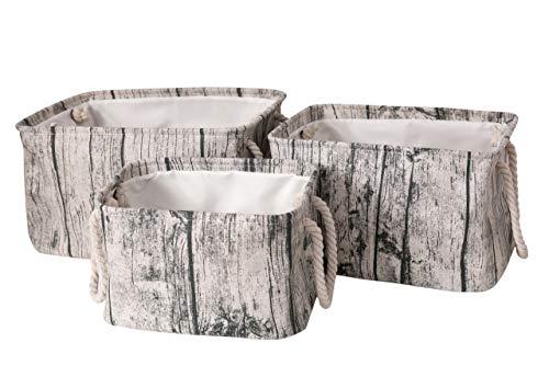 AOLIWEN Storage Bins Baskets Thickened Polyester Cotton Fabric Storage Bins for Cloth Storage Bathroom Storage Baskets for Closet Storage,Toys Books Basket Gifts 3 Size (Wood Grain, Set of - 7.1 Grains