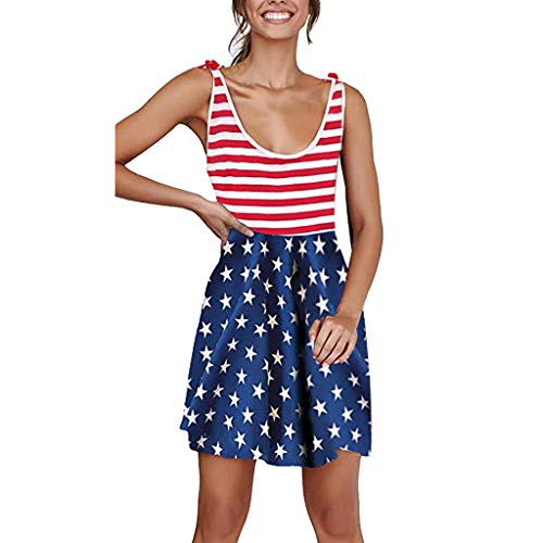 (Baiggooswt American Flag Tank Dresses for Women 4th of July Racerback Stars and Stripes Patriotic Dress Blue)