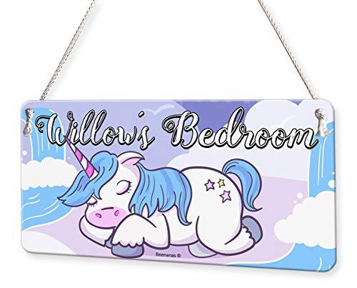 Sleeping Unicorn Personalised Childs Bedroom Door Sign Name Plaque (Sleeping Child Sign)