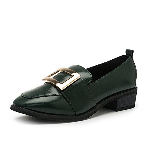 PUMPS Damenschuhe,Grob Heel Set Foot Square Head Shoes-B Fußlänge=24.3CM(9.6Inch)