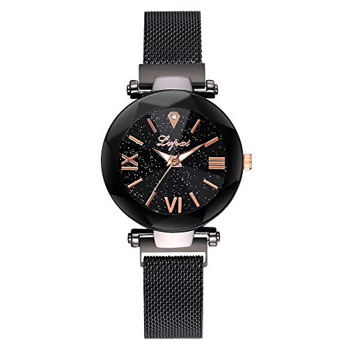 Price comparison product image Fashion Starry Sky Stainless Steel Mesh Belt Watch Casual Quartz Analog Watch Present Hot!! Outsta for Women Girls Gift Present (F)