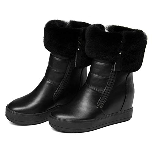 - T-JULY Women Mid Calf Boots Pu Leather Fashion Winter Snow Boots Platform Round Toe Wedges Heel Women Boots Size 34-40