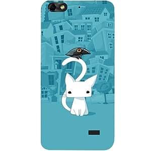 casotec City Diseño de gato Duro Carcasa Protectora trasera para Huawei Honor 4C
