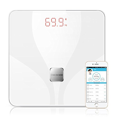 Etekscale Bluetooth Smart Connected Body Fat Scale with Large Digital Highlight LED Display for 8 Body Measurements in Elegant white
