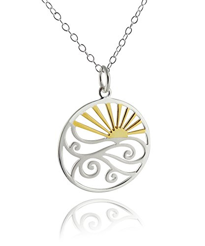 - Sterling Silver Ocean Waves at Sunset Pendant Necklace, 18k Yellow Gold Plated Sun, 18