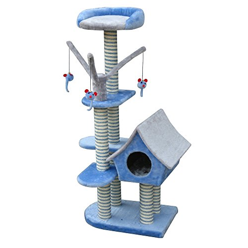 Tree Cottage - Penn Plax Cat Tree Tower Cottage, House Includes Lounge and Perch with Dangling Mouse Cat Toys, 50 Inches High