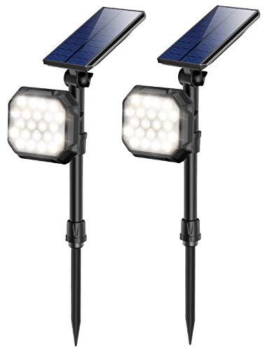 JSOT Solar Spotlights Outdoor 22 LED Waterproof Landscape Spot Light Auto On/Off Flood Lamp for Garden Yard Patio Lawn Garage Driveway