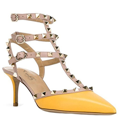 Women's Rivets Heels Comfity Summer Yellow Closed Pumps Toe Pointed High 5 Stiletto Dress SwEqEC