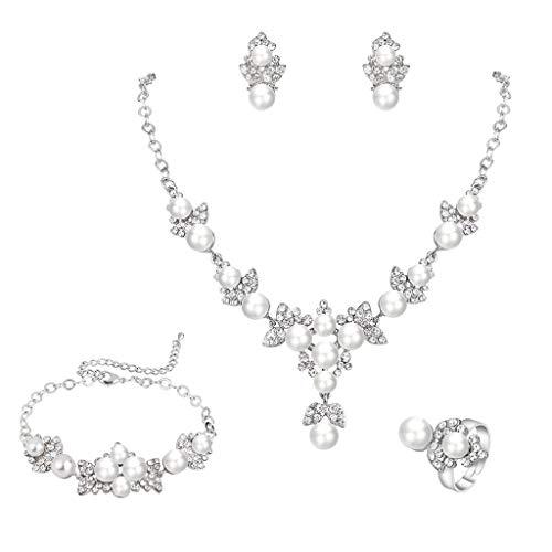 FANZE Women's Austrian Crystal Simulated Pearl Gorgeous Pendant Necklace Stud Earrings Tennis Bracelet Adjustable Ringe 4 Pieces Jewelry Set