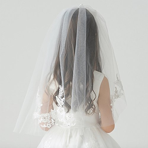 Elesa Miracle Flower Girl Bow Embroidered Wedding Veil, Ivory, In Gift Box by Elesa Miracle (Image #2)