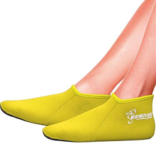 Seavenger 3mm Neoprene Socks for Scuba Diving, Snorkeling, Swimming & All Water Sports (Yellow, X-Small)