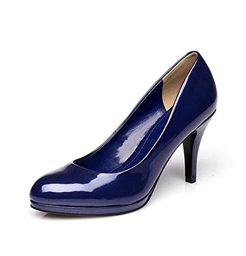 KHSKX-New Spring Shoes Stiletto Shoes Fashion Leather Surface blue