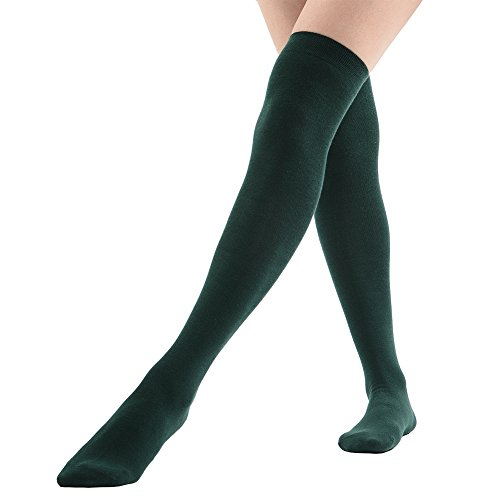 MK MEIKAN Womens Long Socks Over Knee Thigh High Cosplay Cheerleader Knee High 1 Pair, Forest Green -