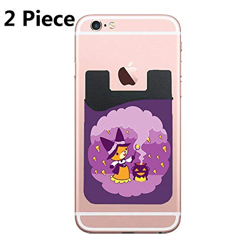 Halloween Fox Witch Summoning Candy Cell Phone Stick On Wallet Card Holder Phone Pocket for iPhone, Android and All Smartphones - Black - 2 Piece