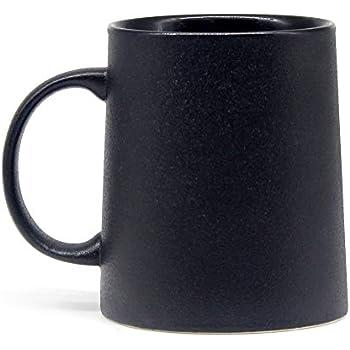 12 oz Matte texture Coffee Mug, Smilatte M051 Novelty Ceramic Cup for Latte Cappuccino Tea Hot Cocoa, Black