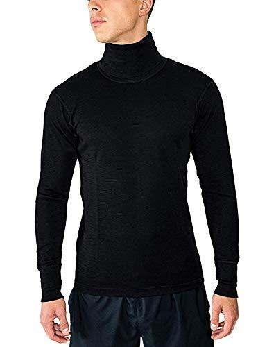 (Woolx mens Prescott Midweight Merino Wool Base Layer Turtlenck Top , Black,)