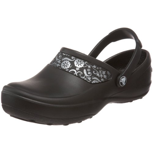 (Crocs Women's Mercy Work Clog, Black/Silver, 9 M US)