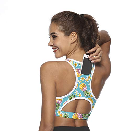 Women's Sports Bra Phone Pocket Print Bra Shock Proof - Active Wear Yoga (XL, B)