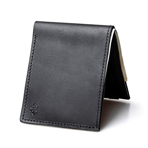 Bifold Leather Wallet For Men | Made in USA | Mens Bifold Wallets | American Made | Midnight Black | Main Street Forge