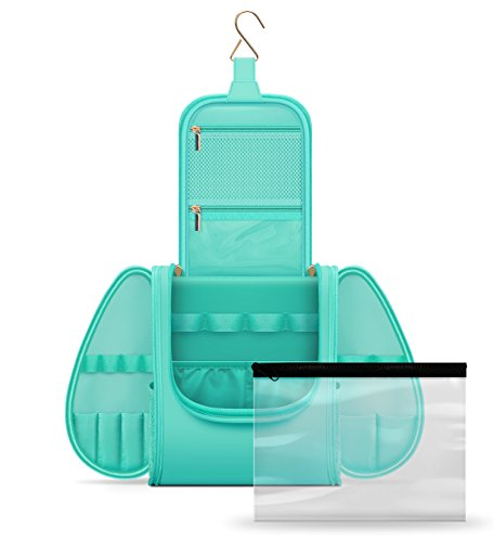 Hanging Travel Toiletry Bag for Men & Women - Waterproof Mens Toiletry Kit for Travel with Clear Bag TSA & Airline Approved - Toiletry Organizing Case for Traveling ()