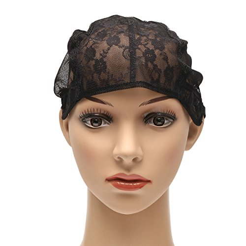 Black Lace Wig Cap Polyester Stretch Mesh Cap Weaving Cap Hairnets With Adjustable Straps For DIY Wig (L)