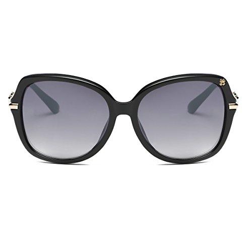 Amomoma Women's Luxury Oversized Diamond Sunglasses Classic Eyewear with Rhinestones AM2003S Black/Gradient Grey Black Oversized Rhinestone
