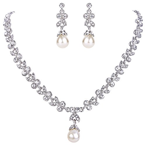 EVER FAITH Wedding Silver-Tone Leaf Simulated Pearl Jewelry Set Clear Austrian Crystal