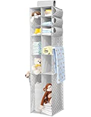 mDesign Long Soft Fabric Over Closet Rod Hanging Storage Organizer with 12 Divided Shelves, Side Pockets for Child/Kids Room or Nursery, Store Diapers, Wipes, Lotions, Toys - Gray/White