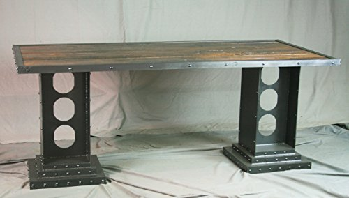 Vintage industrial dining table. Reclaimed wood desk. Industrial table with girder legs.