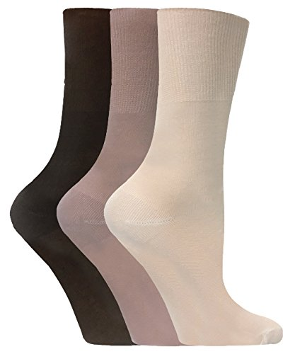 3 Pack Womens Lightweight Loose Non Binding Top Odor Control Bamboo Crew Socks (5-8 US, SE047 Brown) 3 Pack Crew Socks